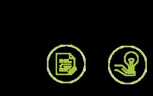 """Icones de représentation des phases """"Déploiement"""" et """"Accompagnement"""" de notre processus de travail"""