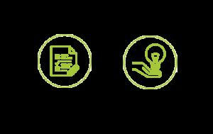 Icones représentant les phases de déploiement de la solution et d'accompagnement sur le long terme