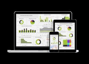 Tableaux de suivi des ressources humaines en version responsive sur ordinateur, tablette et smartphone
