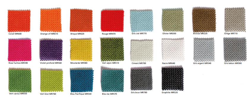 22 coloris des produits d'isolation acoustique Texaa