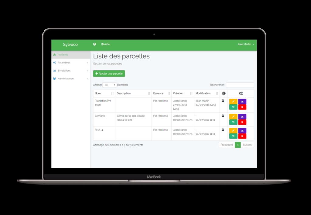 Application métier Sylveco : tableau de bord, liste des parcelles