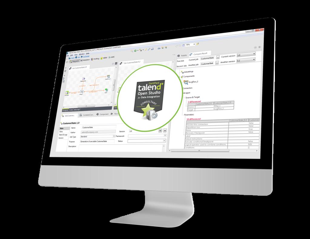 Ecran Talend avec un logo de la certification Talend Data Intégration